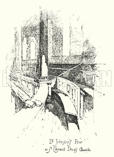 Dr Johnson's Pew, St Clement Dane's Church, London.  Illustration for The Life of Samuel Johnson by James Boswell (Phoenix Book Company, c 1900).