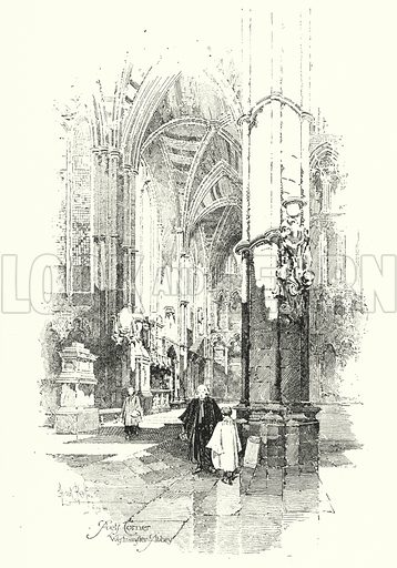 Poet's Corner, Westminster Abbey, London.  Illustration for The Life of Samuel Johnson by James Boswell (Phoenix Book Company, c 1900).