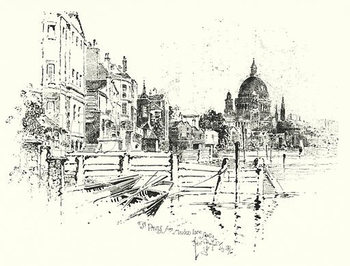 St Paul's Cathedral, London, from Maiden Lane Stairs.  Illustration for The Life of Samuel Johnson by James Boswell (Phoenix Book Company, c 1900).