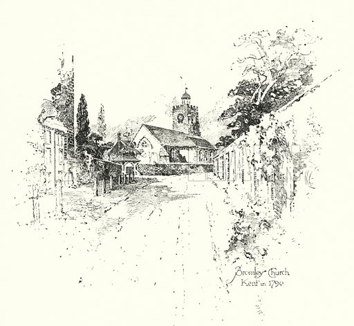 Bromley Chruch, Kent, in 1790.  Illustration for The Life of Samuel Johnson by James Boswell (Phoenix Book Company, c 1900).