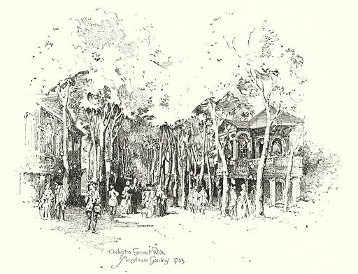 Orchestra Grand Walk, Marylebone Gardens, London, 1753.  Illustration for The Life of Samuel Johnson by James Boswell (Phoenix Book Company, c 1900).