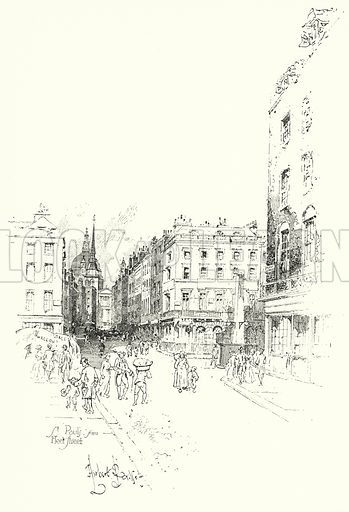 St Paul's Cathedral, from Fleet Street, London.  Illustration for The Life of Samuel Johnson by James Boswell (Phoenix Book Company, c 1900).