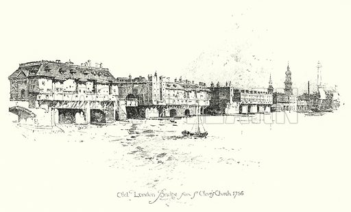 Old London Bridge, from St Olave's Church, 1756.  Illustration for The Life of Samuel Johnson by James Boswell (Phoenix Book Company, c 1900).