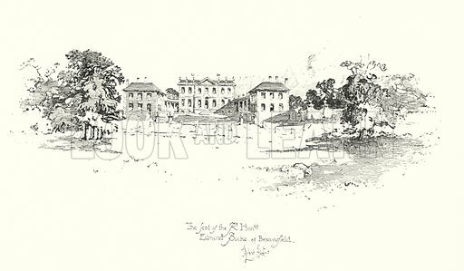 The seat of Edmund Burke, Beaconsfield.  Illustration for The Life of Samuel Johnson by James Boswell (Phoenix Book Company, c 1900).
