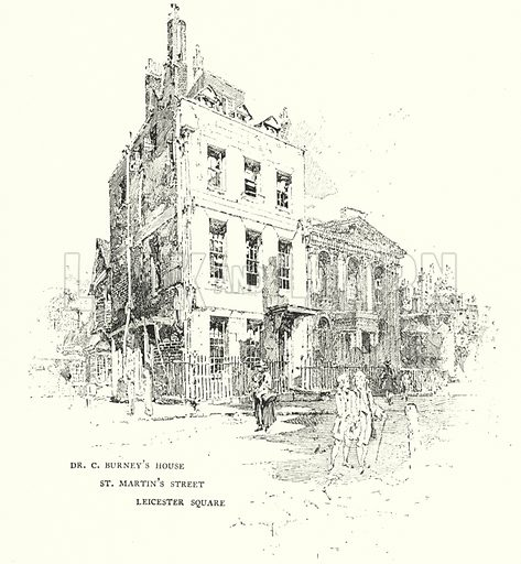 Dr Charles Burney's House, St Martin's Street, Leicester Square, London.  Illustration for The Life of Samuel Johnson by James Boswell (Phoenix Book Company, c 1900).