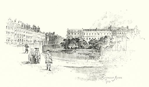 Grosvenor Square, London, 1789.  Illustration for The Life of Samuel Johnson by James Boswell (Phoenix Book Company, c 1900).