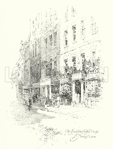 Old Slaughter's Coffee House, St Martin's Lane, London.  Illustration for The Life of Samuel Johnson by James Boswell (Phoenix Book Company, c 1900).