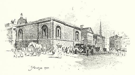Newgate, London, 1780.  Illustration for The Life of Samuel Johnson by James Boswell (Phoenix Book Company, c 1900).