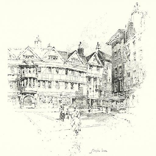 Staple Inn, London.  Illustration for The Life of Samuel Johnson by James Boswell (Phoenix Book Company, c 1900).