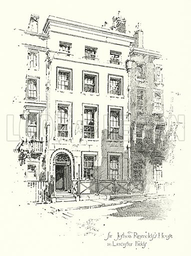 Sir Joshua Reynold's House, Leicester Fields, London.  Illustration for The Life of Samuel Johnson by James Boswell (Phoenix Book Company, c 1900).