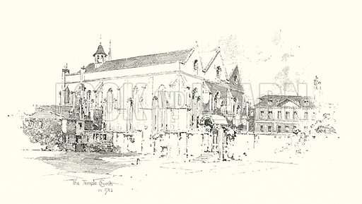 The Temple Church, London, in 1761.  Illustration for The Life of Samuel Johnson by James Boswell (Phoenix Book Company, c 1900).