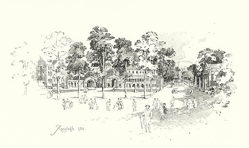 Ranelagh Gardens, London, 1751.  Illustration for The Life of Samuel Johnson by James Boswell (Phoenix Book Company, c 1900).