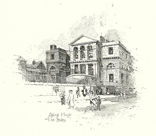 Sessions House, Old Bailey, London.  Illustration for The Life of Samuel Johnson by James Boswell (Phoenix Book Company, c 1900).