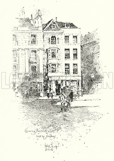 Crown and Anchor, kept by Thomas Simpkin, The Strand, London.  Illustration for The Life of Samuel Johnson by James Boswell (Phoenix Book Company, c 1900).