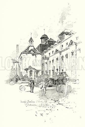 Thrale's Brewery, Southwark, London.  Illustration for The Life of Samuel Johnson by James Boswell (Phoenix Book Company, c 1900).