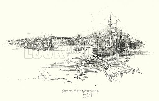 Greenwich Hospital and shipping, in 1749.  Illustration for The Life of Samuel Johnson by James Boswell (Phoenix Book Company, c 1900).
