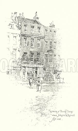 Residence of Thomas Davies, London, where Dr Johnson and James Boswell first met.  Illustration for The Life of Samuel Johnson by James Boswell (Phoenix Book Company, c 1900).