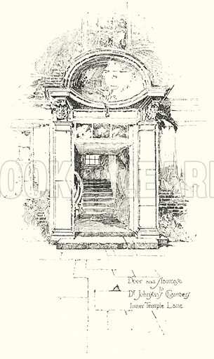 Door and Staircase to Dr Johnson's Chambers, Inner Temple Lane, London.  Illustration for The Life of Samuel Johnson by James Boswell (Phoenix Book Company, c 1900).