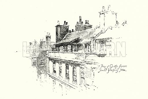 A Peep of Gough Square, London, from Dr Johnson's Attic.  Illustration for The Life of Samuel Johnson by James Boswell (Phoenix Book Company, c 1900).