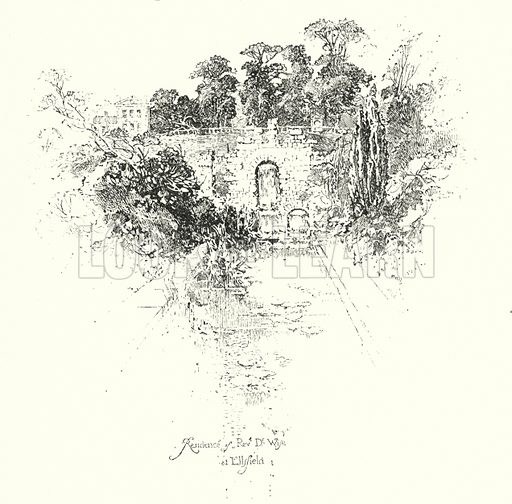 Residence of Reverend Dr Wise, at Ellsfield.  Illustration for The Life of Samuel Johnson by James Boswell (Phoenix Book Company, c 1900).