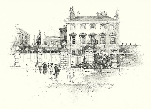 Chesterfield House, London, in 1790.  Illustration for The Life of Samuel Johnson by James Boswell (Phoenix Book Company, c 1900).