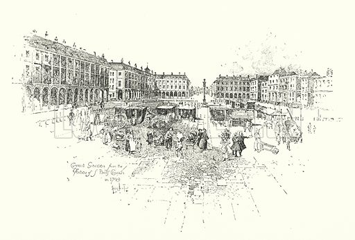 Covent Garden from the Portico of St Paul's Church, London, in 1749.  Illustration for The Life of Samuel Johnson by James Boswell (Phoenix Book Company, c 1900).