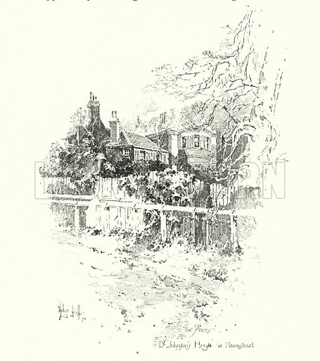 The Priory, Dr Johnson's House, at Hampstead, London.  Illustration for The Life of Samuel Johnson by James Boswell (Phoenix Book Company, c 1900).