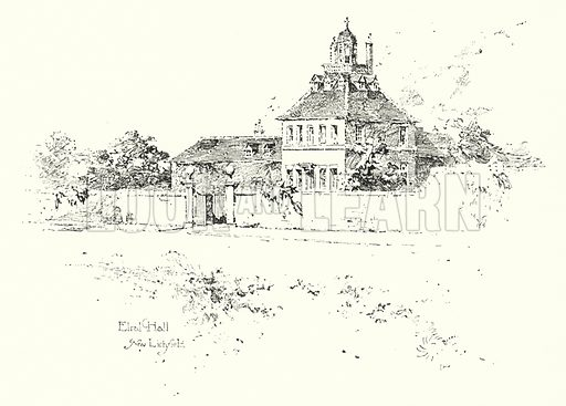 Elral Hall, near Lichfield.  Illustration for The Life of Samuel Johnson by James Boswell (Phoenix Book Company, c 1900).