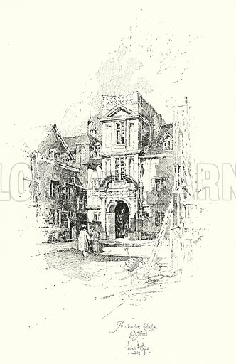 Pembroke College, Oxford.  Illustration for The Life of Samuel Johnson by James Boswell (Phoenix Book Company, c 1900).