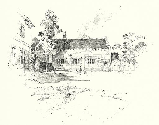 Grammar School, Lichfield, where Dr Johnson went to school. Illustration for The Life of Samuel Johnson by James Boswell (Phoenix Book Company, c 1900).