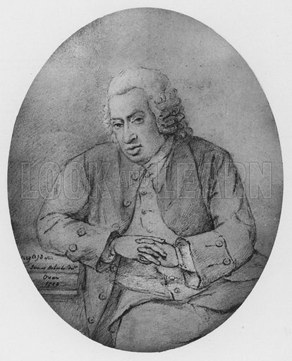 The last portrait of Dr Samuel Johnson, drawn for Miss Adams on his last visit to Oxford, 1784. Illustration for The Life of Samuel Johnson by James Boswell (Phoenix Book Company, c 1900).
