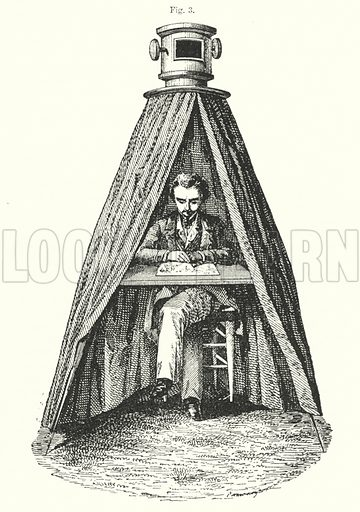 Camera Obscura.  Illustration for The Museum of Science and Art edited by Dionysius Lardner (Walton and Maberly, 1854-56).