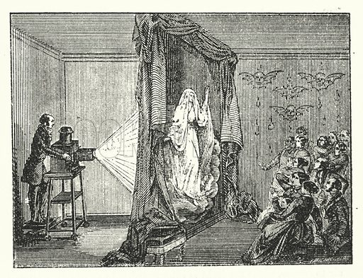 The magic lantern - ghost effects.  Illustration for The Museum of Science and Art edited by Dionysius Lardner (Walton and Maberly, 1854-56).
