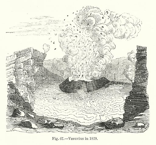 Mount Vesuvius in 1829.  Illustration for The Museum of Science and Art edited by Dionysius Lardner (Walton and Maberly, 1854-56).