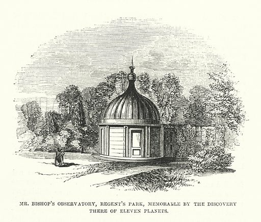 Mr Bishop's observatory, Regent's Park, London, memorable by the discovery there of eleven planets.  Illustration for The Museum of Science and Art edited by Dionysius Lardner (Walton and Maberly, 1854-56).