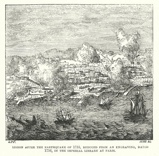 Lisbon, Portugal, after the earthquake of 1755.  Illustration for The Museum of Science and Art edited by Dionysius Lardner (Walton and Maberly, 1854-56).