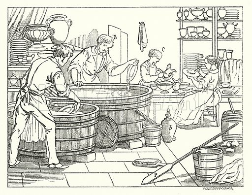 Pottery, glazing.  Illustration for The Museum of Science and Art edited by Dionysius Lardner (Walton and Maberly, 1854-56).