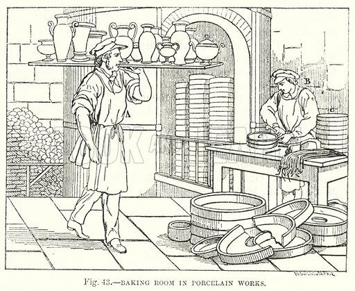 Baking room in Porcelain Works.  Illustration for The Museum of Science and Art edited by Dionysius Lardner (Walton and Maberly, 1854-56).