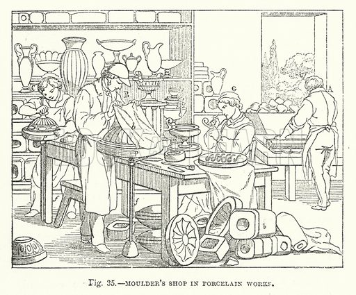 Moulder's shop in porcelain works.  Illustration for The Museum of Science and Art edited by Dionysius Lardner (Walton and Maberly, 1854-56).