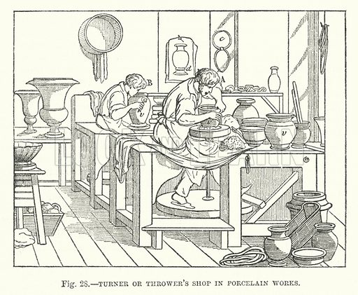 Turner or thrower's shop in porcelain works.  Illustration for The Museum of Science and Art edited by Dionysius Lardner (Walton and Maberly, 1854-56).
