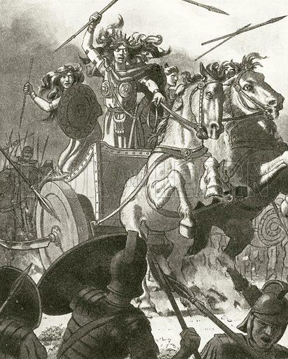 Queen Boadicea in her chariot.