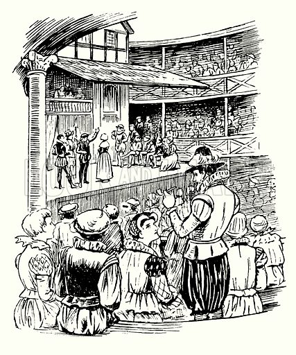 Performance of a Shakespeare play at the Globe Theatre, London.  Illustration for The Story of Tudor and Stuart Britain by C W Airne (Sankey, Hudson, c 1935).