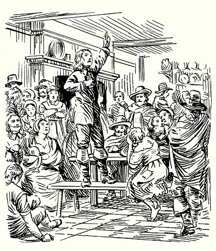 George Fox, preaching in a tavern.  Illustration for The Story of Tudor and Stuart Britain by C W Airne (Sankey, Hudson, c 1935).