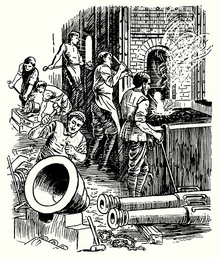 A cannon foundry.  Illustration for The Story of Tudor and Stuart Britain by C W Airne (Sankey, Hudson, c 1935).