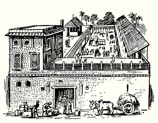 The first English factory at Surat, india.  Illustration for The Story of Tudor and Stuart Britain by C W Airne (Sankey, Hudson, c 1935).