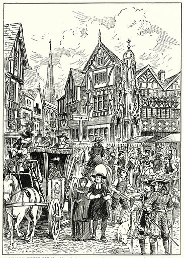 A Stuart street scene.  Illustration for The Story of Tudor and Stuart Britain by C W Airne (Sankey, Hudson, c 1935).   Signed: J A Kendrick.