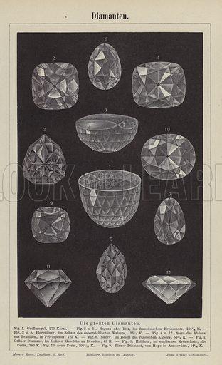 Diamonds.  Illustration from Meyer's Konversations-Lexicon, c1895.
