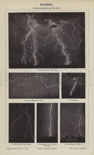 Lightning.  Illustration from Meyer's Konversations-Lexicon, c1895.