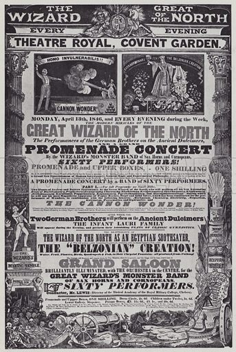 Magic and Music, Covent Garden handbill, April 1846.  Illustration for The Proms by Thomas Russell (Max Parrish, 1949).