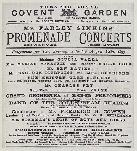 Covent Garden, Mr Farley Sinkins' Promenade Concerts, 12 August 1893, programme.  Illustration for The Proms by Thomas Russell (Max Parrish, 1949).